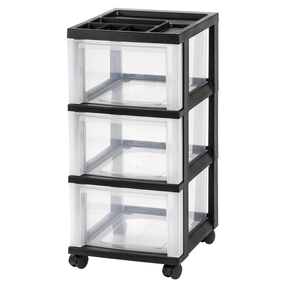 68 Qt. 3-Drawer Storage Bin in Black
