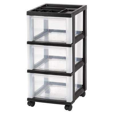 68 Qt. 3-Drawer Storage Bin in Black