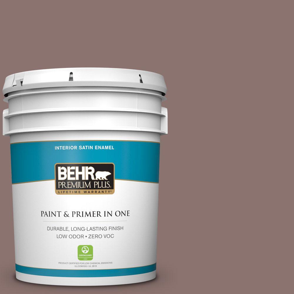 BEHR Premium Plus 5-gal. #720B-5 Bitter Briar Zero VOC Satin Enamel Interior Paint