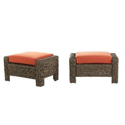 Laguna Point Brown All-Weather Wicker Outdoor Ottoman with Quarry Red Cushion (2-Pack)