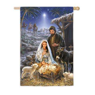 28 in. x 44 in. A Savior is Born House Satin Flag