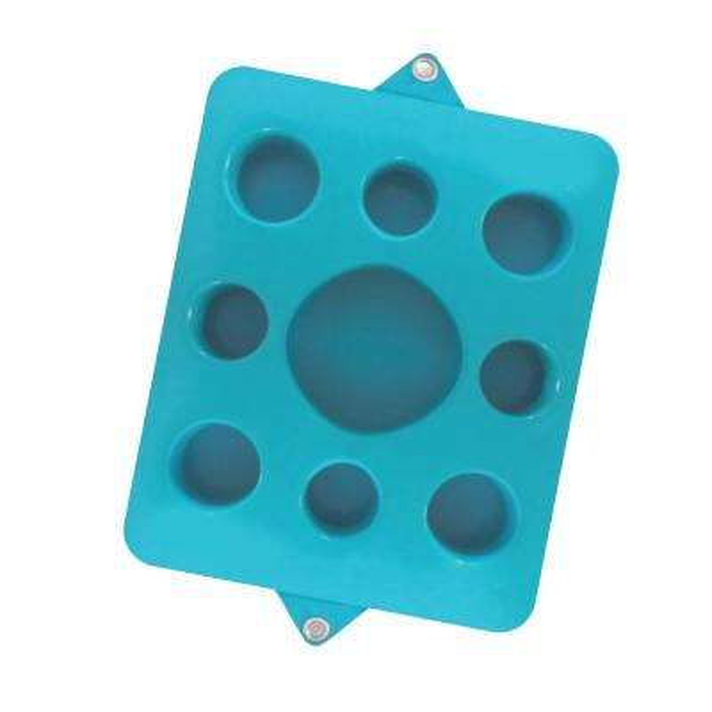 9-Cutout Seafoam Blue Pool Floating Drink Tray
