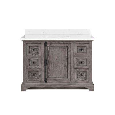 48 in. W x 22 in. D Bath Vanity in Cashmere with Engineered Vanity Top in Carrara with White Basin