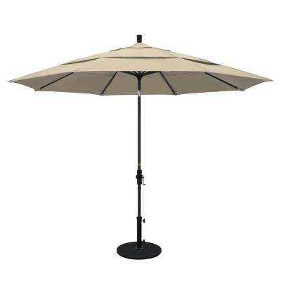 11 ft. Aluminum Collar Tilt Double Vented Patio Umbrella in Beige Pacifica