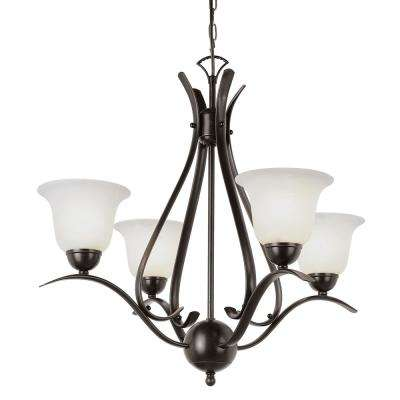 Aspen 4-Light Rubbed Oil Bronze Chandelier with Marbleized Shades