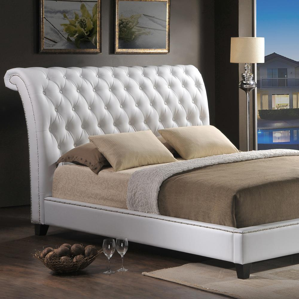 Jazmin Transitional White Faux Leather Upholstered Queen Size Bed
