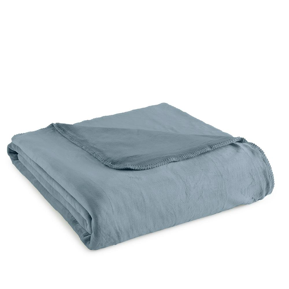 micro flannel king plush steel blue polyester ultra soft blanket