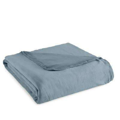 Twin Plush Steel Blue Polyester Ultra Soft Blanket