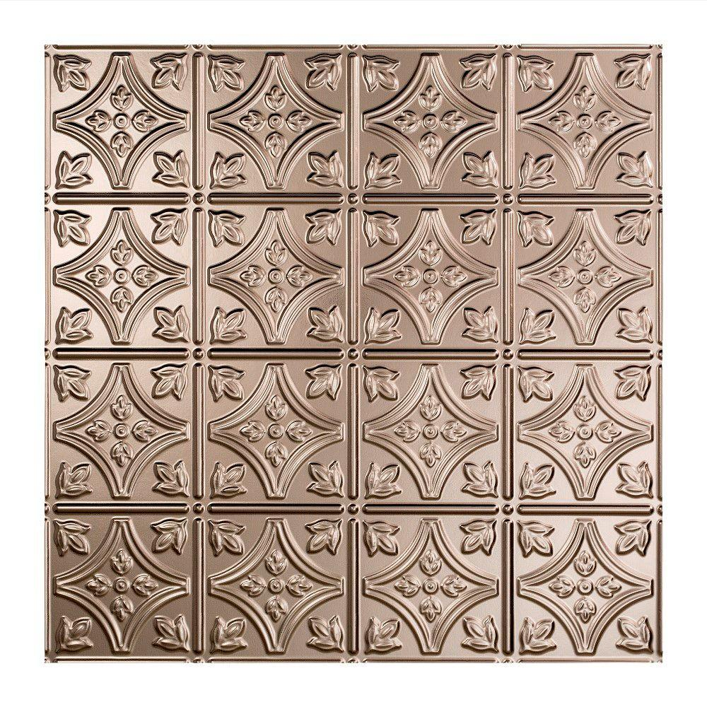 Fasade Traditional 1 - 2 ft. x 2 ft. Lay-in Ceiling Tile in Brushed Nickel