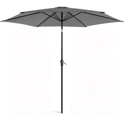 11 ft. Outdoor Patio Garden Canopy Backyard Market Umbrella in Gray Steel Manual Tilt with Crank Height Adjustment