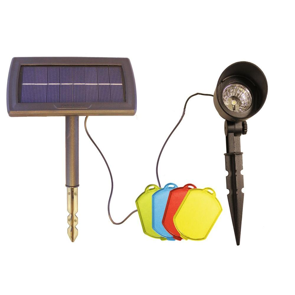 Solar Powered Black Integrated LED Spotlight with Color Filters