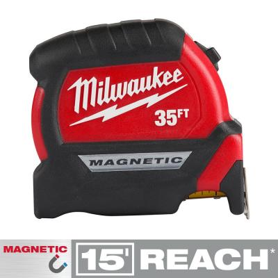 35 ft. x 1 in. Compact Magnetic Tape Measure with 15 ft. Reach