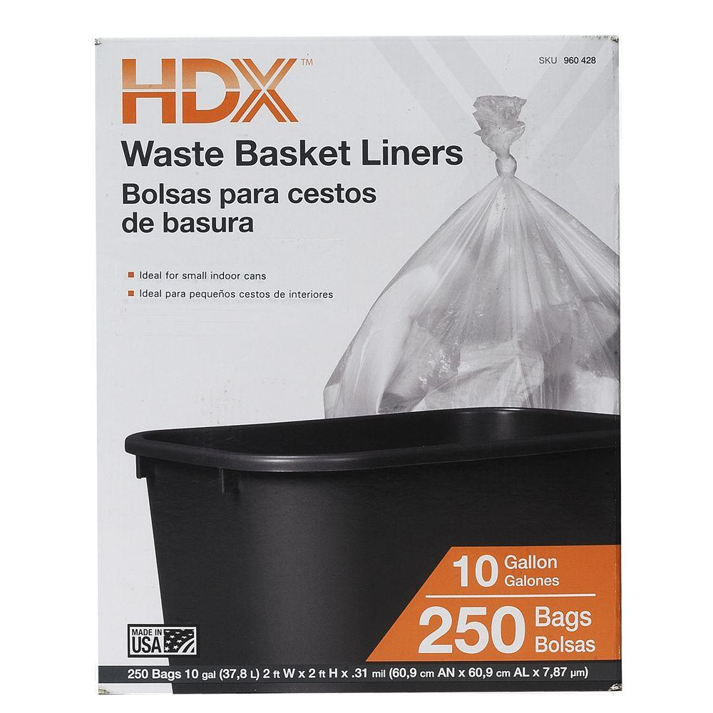 10 Gal Waste Liner Clear Trash Bags 250 Count