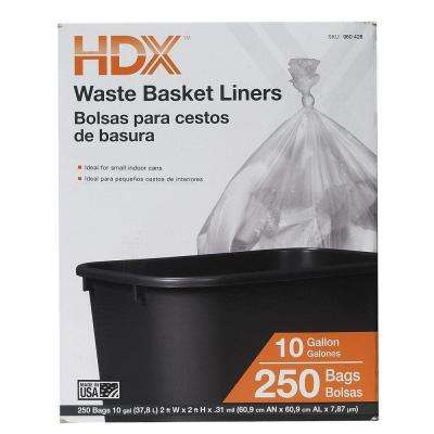 10 Gal. Waste Liner Clear Trash Bags (250-Count)