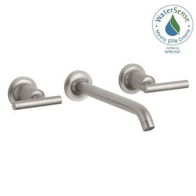 Purist Wall-Mount 2-Handle Low-Arc Water-Saving Bathroom Faucet Trim Kit in Vibrant Brushed Nickel (Valve Not Included)