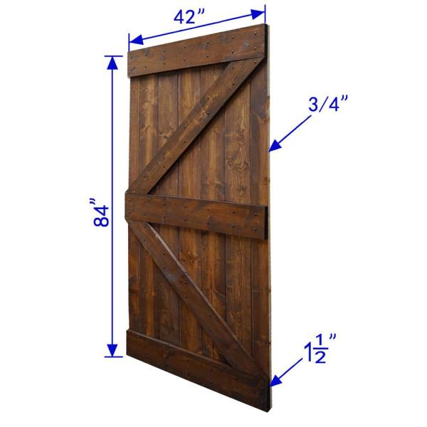 Wellhome 42 In X 84 In K Series Diy Dark Walnut Finished Knotty Pine Wood Sliding Barn Door Slab Dr Wb42 D The Home Depot