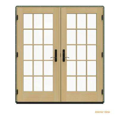 72 in. x 80 in. W-4500 Green Clad Wood Left-Hand 15 Lite French Patio Door w/Unfinished Interior