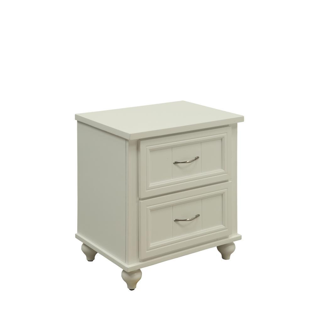 Furniture of America Cara 2-Draw White Nightstand IDF-7322WH-N