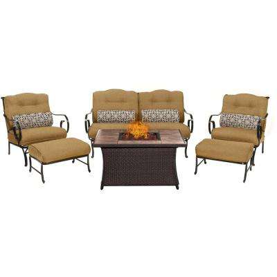 Oceana 6-Piece Patio Seating Set with Tile-Top Fire Pit and Country Cork Cushions