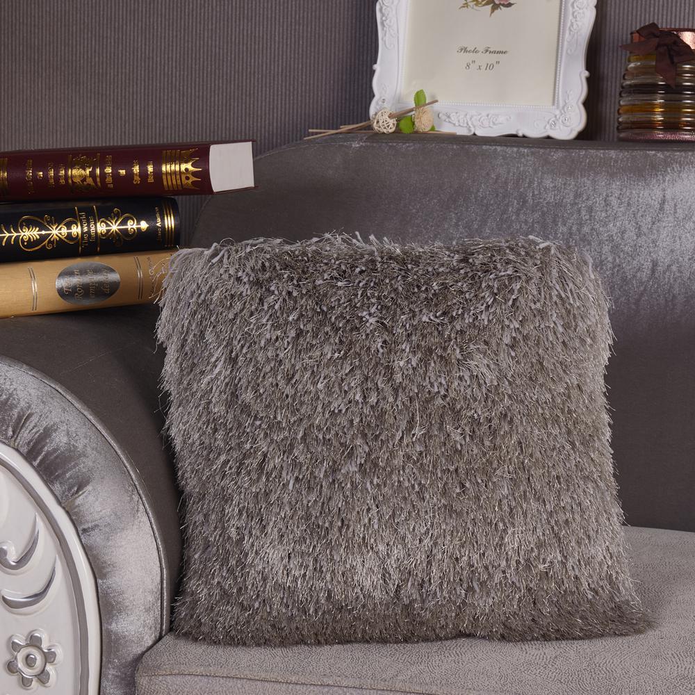 Silver Shaggy Polyester Standard Decorative Pillow