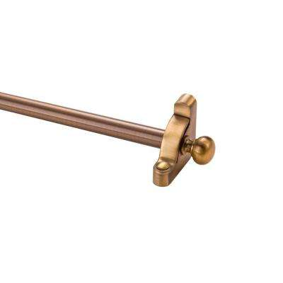 Heritage Collection Tubular 28.5 in. x 1/2 in. Antique Brass Stair Rod Set with Round Finial