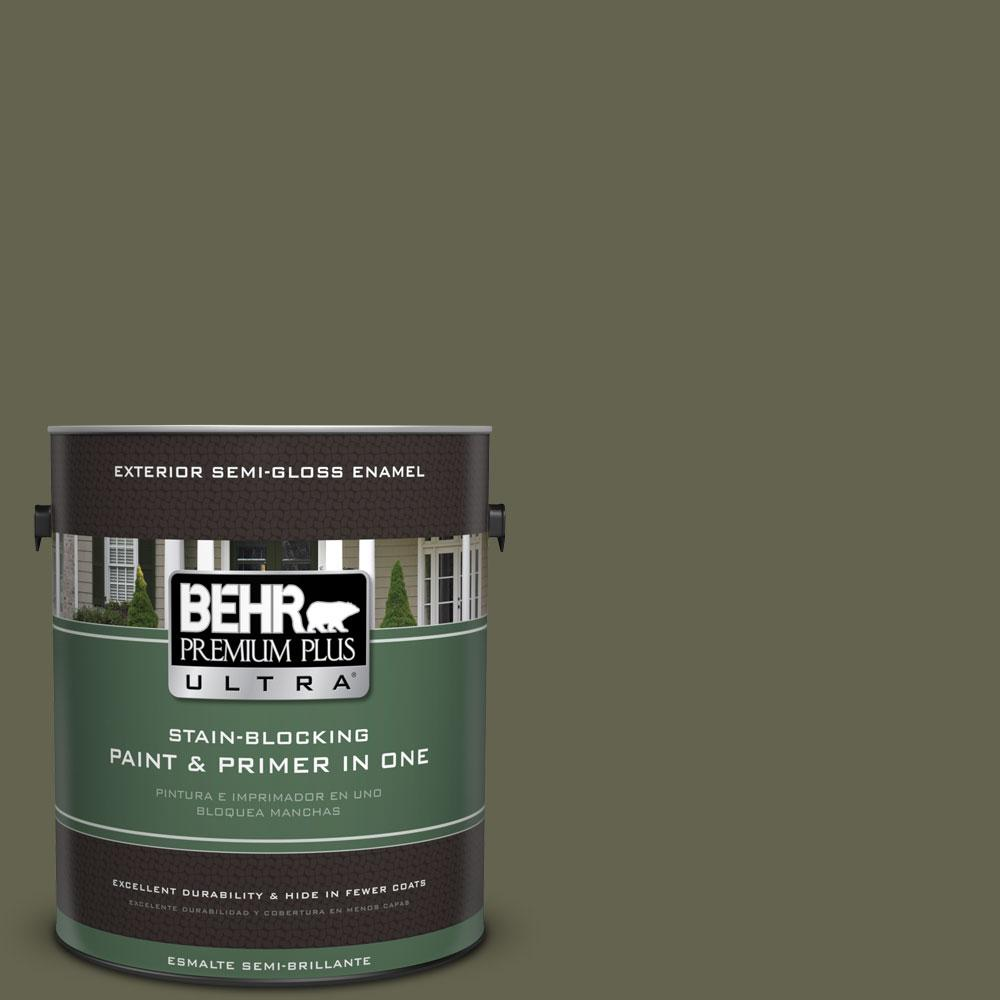 BEHR Premium Plus Ultra 1-gal. #N350-7 Russian Olive Semi-Gloss Enamel Exterior Paint