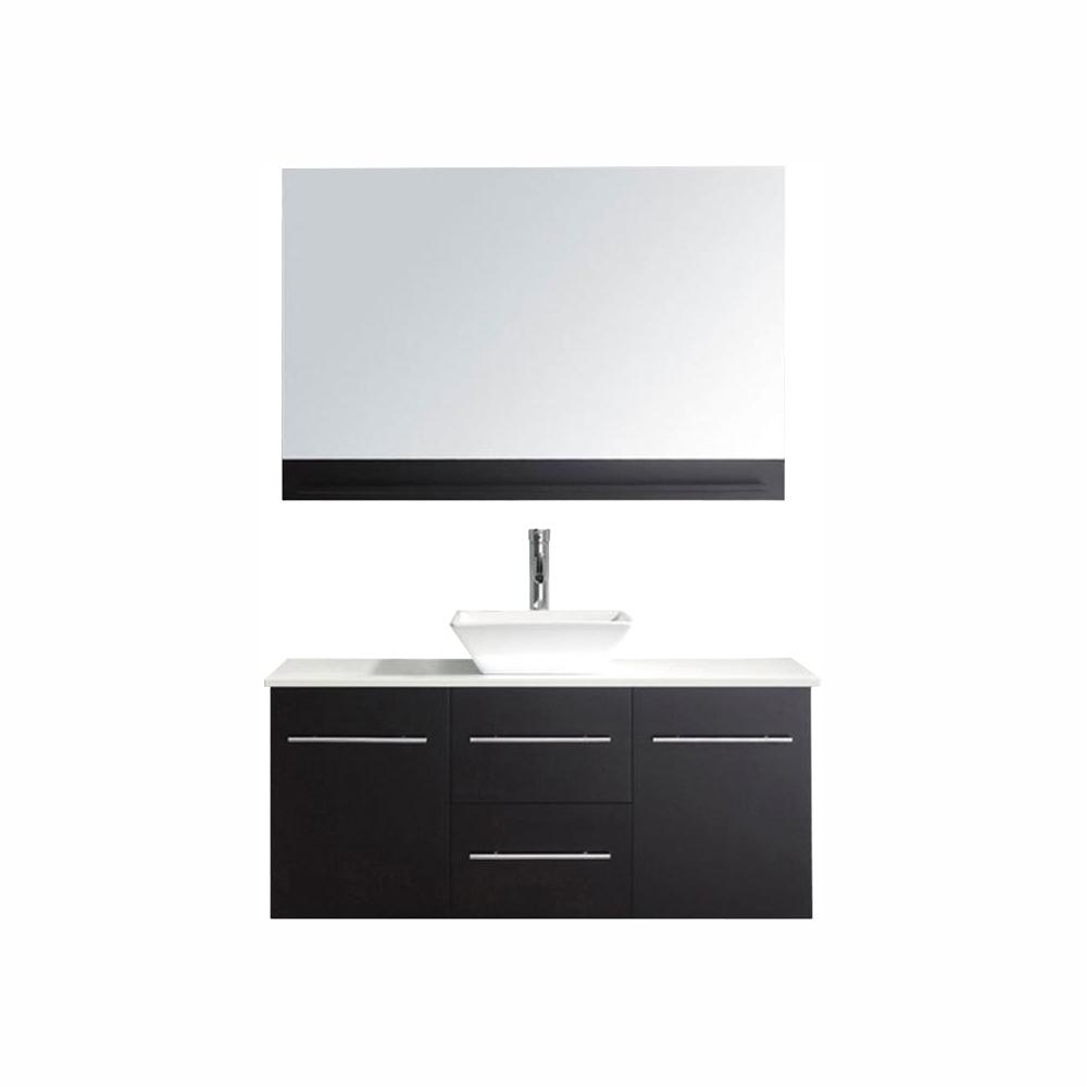 Virtu USA Marsala 49 in. W Bath Vanity in Espresso with Stone Vanity Top in White with Square Basin and Mirror and Faucet