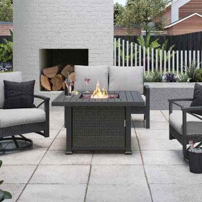 Vendome 42 in. x 24 in. Square Aluminum Propane Fire Pit in Grey
