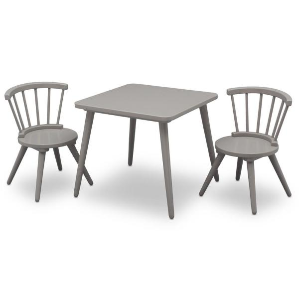 Delta Children Grey Windsor Table and 2-Chair Set 531300-026