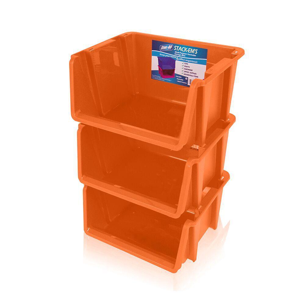Stackable Storage Bin In Orange 3 Pack St105fl3 070