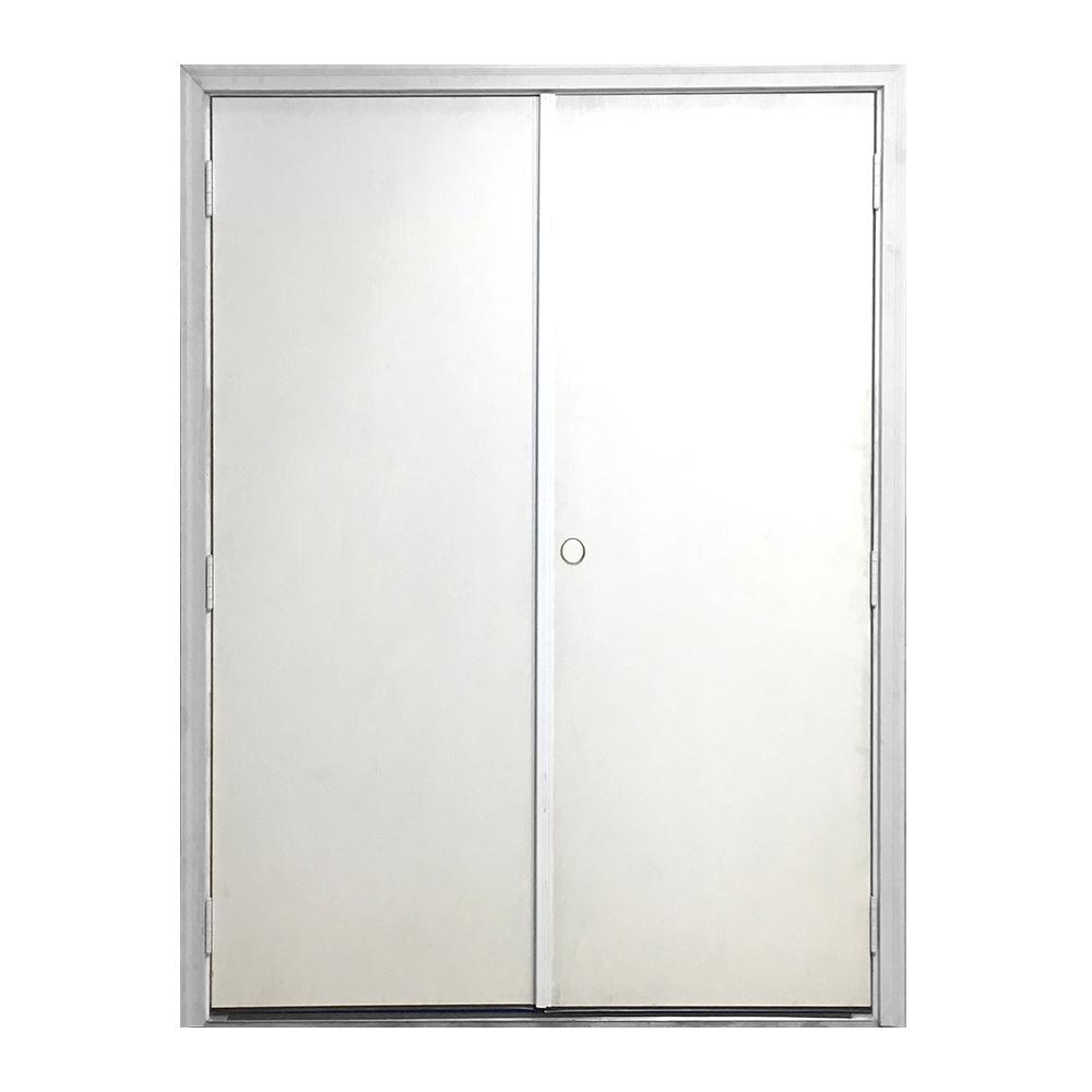 60 in. x 80 in. Garden Shed White Primed Left-Hand Outswing Fiberglass Prehung Front Door