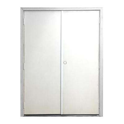 72 in. x 80 in. Garden Shed White Primed Left-Hand Outswing Fiberglass Prehung Front Door