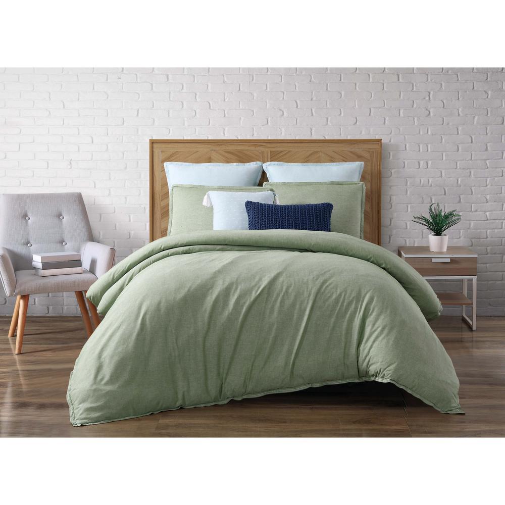 Chambray Loft Green King Comforter with 2-Shams
