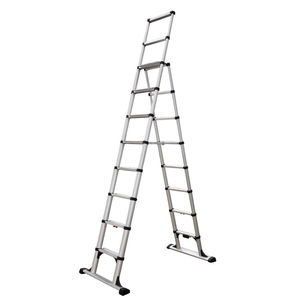 telesteps 14 ft osha compliant reach professional wide step telescoping a frame ladder 14es. Black Bedroom Furniture Sets. Home Design Ideas