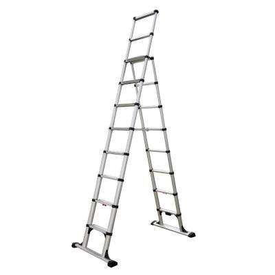 10 ft. Aluminum Professional Wide Step Telescoping A-Frame Ladder OSHA Compliant with 14 ft. Reach Height