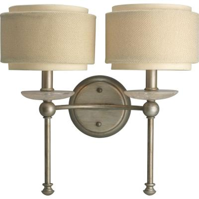 Ashbury Collection 2-Light Silver Ridge Wall Sconce with Toasted Linen Shade