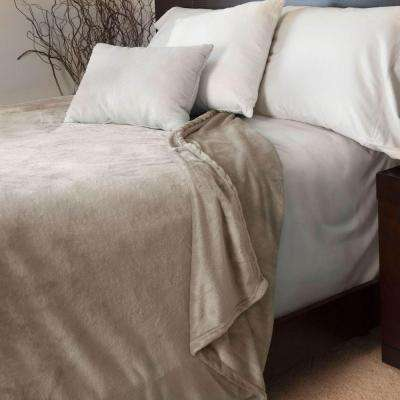 Beige Polyester Flannel Full/Queen Blanket