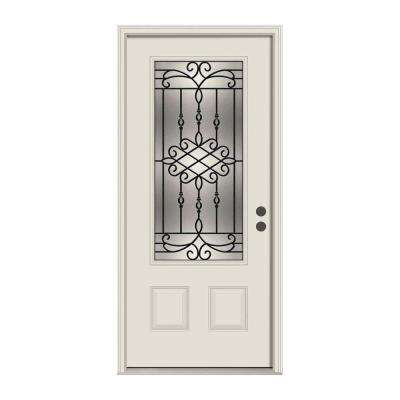 36 in. x 80 in. 3/4 Lite Sanibel Primed Steel Prehung Left-Hand Inswing Front Door w/Brickmould