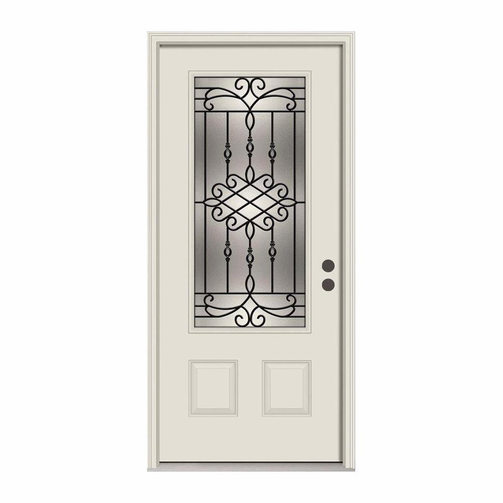 36 in. x 80 in. 3/4 Lite Sanibel Primed Steel Prehung Left-Hand Inswing Front Door w/Brickmould