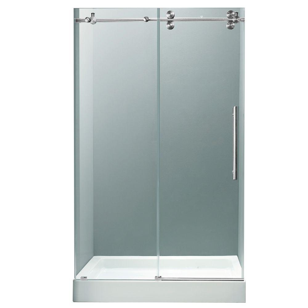 Vigo 59.75 in. x 74 in. Frameless Bypass Shower Door in Chrome with Clear Glass and White Base with Center Drain