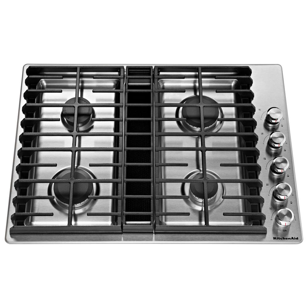 KitchenAid 30 in. Gas Downdraft Cooktop in Stainless Stee...
