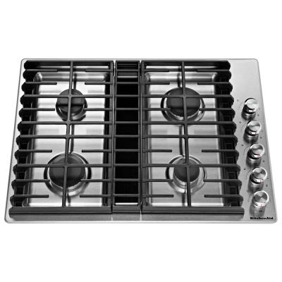 30 in. Gas Downdraft Cooktop in Stainless Steel with 4 Burners