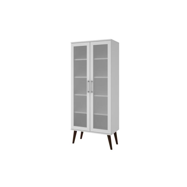 Manhattan Comfort Serra 5-Shelf White Bookcase with Frosted Glass Doors and