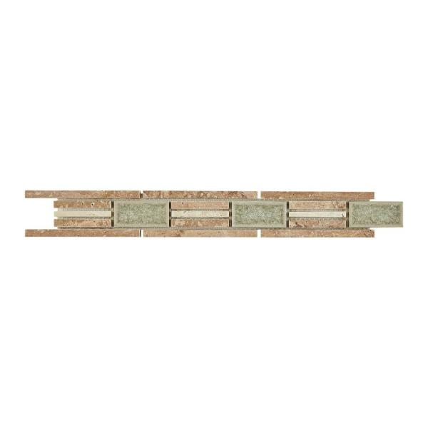 Stone Decor Linear Fantasy 1-5/8 in. x 12 in. Travertine with Crackled Glass Accent Wall Tile (0.1342 sq. ft. / piece)