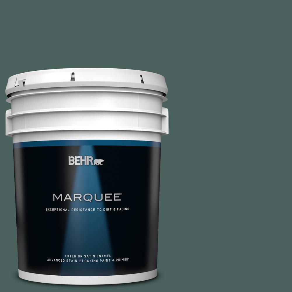 Behr Marquee 5 Gal Bic 54 Vert Pierre Satin Enamel Exterior Paint And Primer In One 945305 The Home Depot
