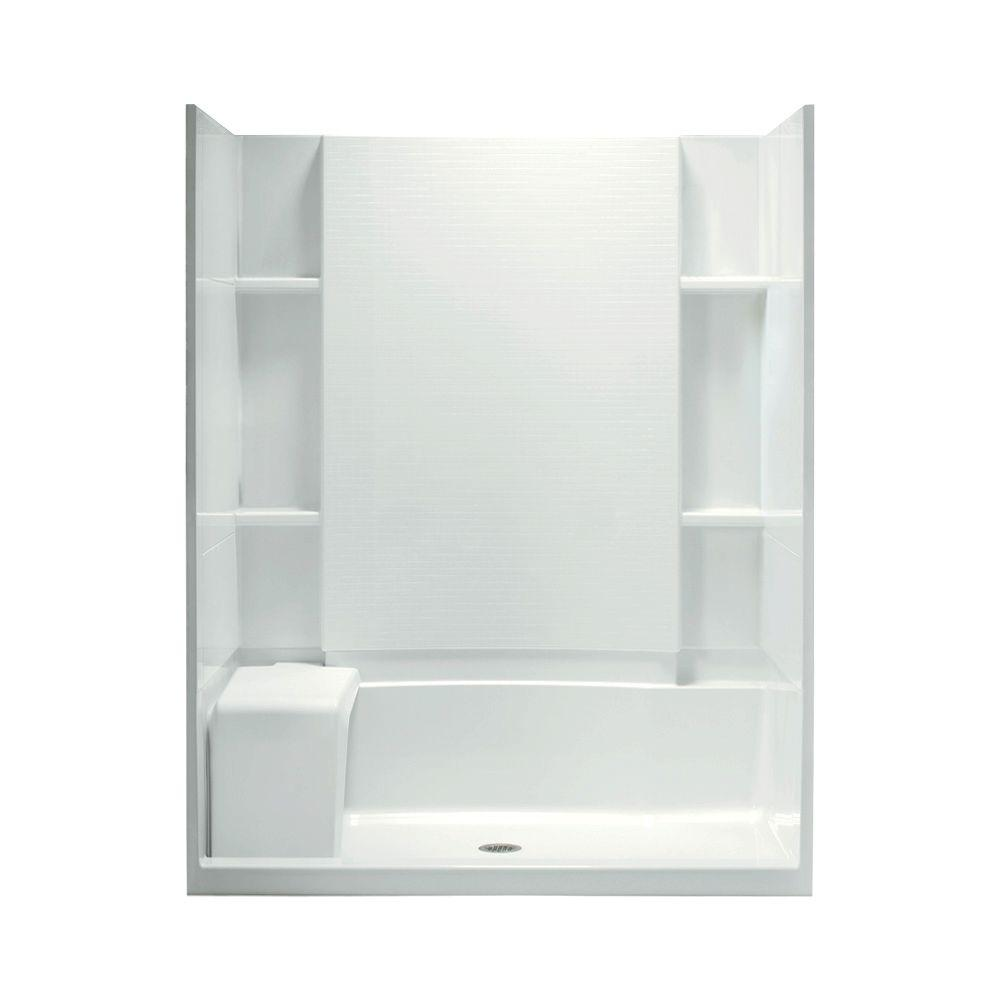STERLING Accord Seated 36 in. x 60 in. x 74-1/2 in. Shower Kit with Age-in-Place Backers in White