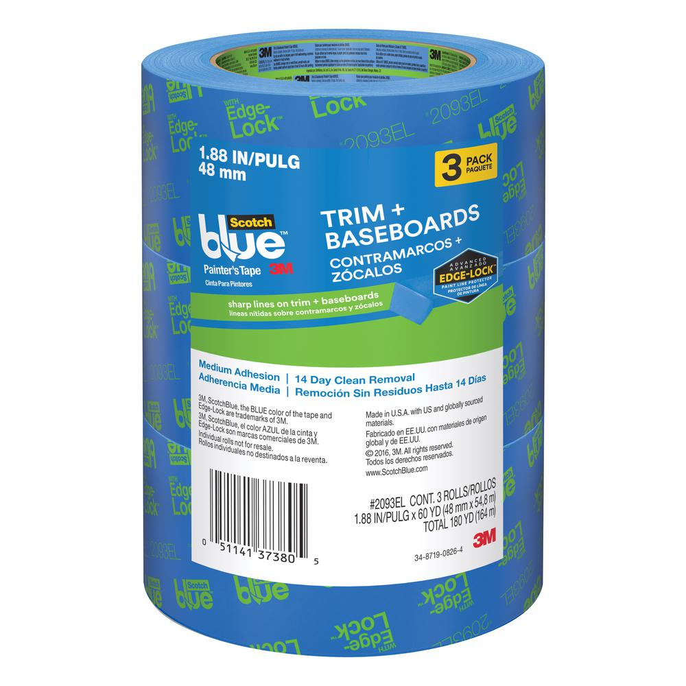 3M ScotchBlue 1.88 in. x 60 yds. Trim and Baseboards Painter's Tape with Edge-Lock (3-Pack)