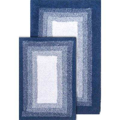 Whitney Ombre Reversible Deep Denim  21 in. x 34 in. and 17 in. x 24 in. 2-Piece Bath Rug Set