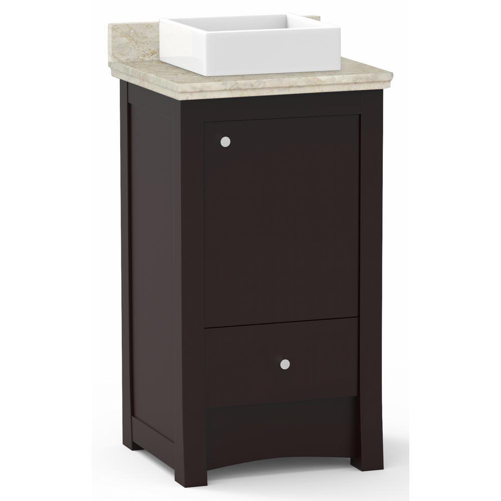 16-Gauge-Sinks 19.75 in. W x 18.3 in. D Vanity in DA Walnut with Stone Vanity Top in Beige with White Basin