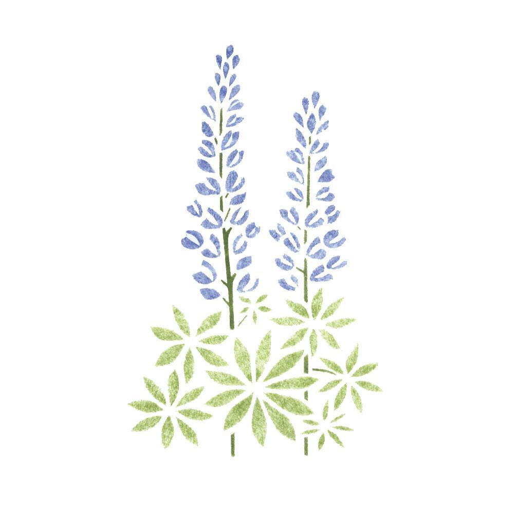 Designer Stencils Lupine Flower Wall Stencil 1835 The Home Depot